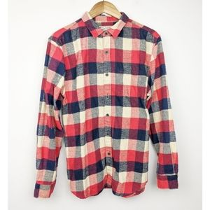 JACHS | Plaid Blue Red Soft Fall Flannel Large